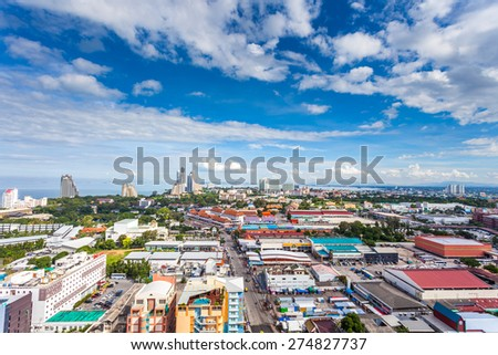 THAILAND, PATTAYA - OCTOBER 26: Top view of Pattaya city waterfront, top view on October 26.2014 in Pattaya, Thailand. - stock photo