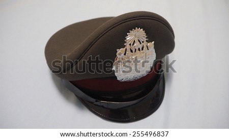 Thailand police hat on a soft blue background - stock photo