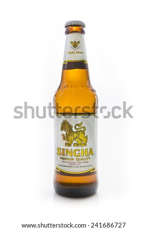 Thailand , Rayong - January 04, 2015: Singha beer on white background , Singha beer is most popular in thailand , Rayong , Thailand - stock photo