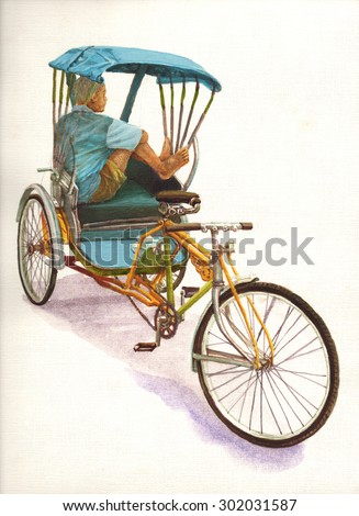 Thailand rickshaw three. bicycle rickshaw. taxi of Bankok. watercolour painting. Asian background illustrations concept. - stock photo