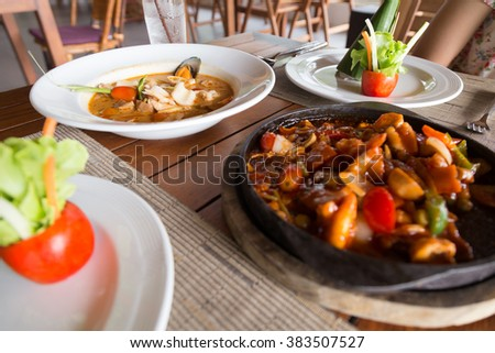 Thailand seafood dishes. Thailand's food arranged on a table at a restaurant for breakfast. - stock photo