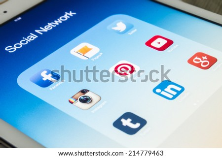 THAILAND - SEPTEMBER 03, 2014: All of popular social media icons on tablet device screen - stock photo