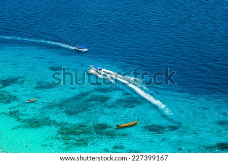 Thailand, Similan Islands. Boats on the water. Turquoise paradise view from top. - stock photo