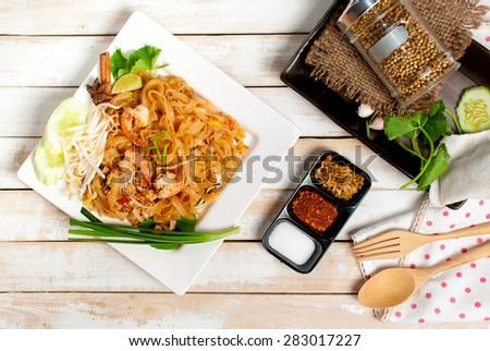 Thailand style noodles, stir-fried rice noodles (Pad Thai) - stock photo
