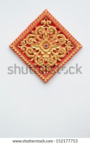 Thailand temple wall - stock photo