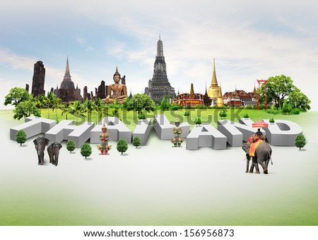 Thailand travel background and infographic, concept - stock photo