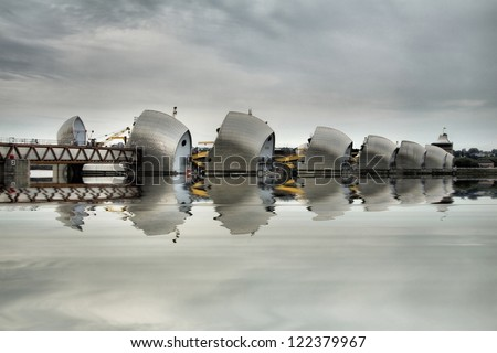Thames Barrier in London is the world's second largest movable flood barrier, located downstream of central London in the area of Silvertown - stock photo