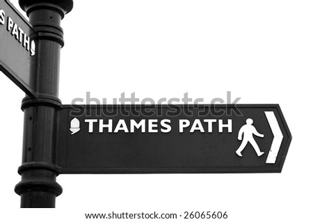 Thames Path sign - stock photo