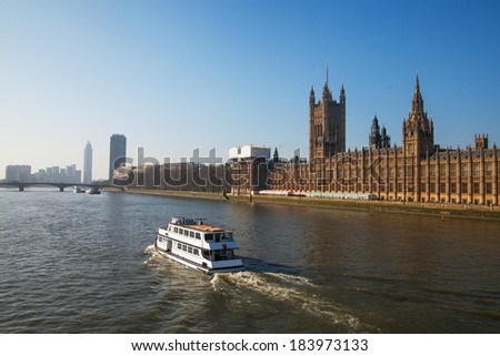 Thames river and Houses of Parliament, London, United Kingdom. - stock photo