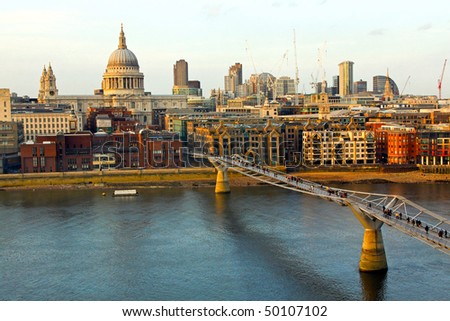 Thames river and St. Paul cathedral from south side - stock photo