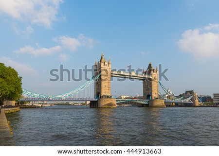Thames river and Tower Bridge in London, UK - stock photo