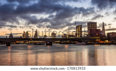 Thames Skyline london - stock photo