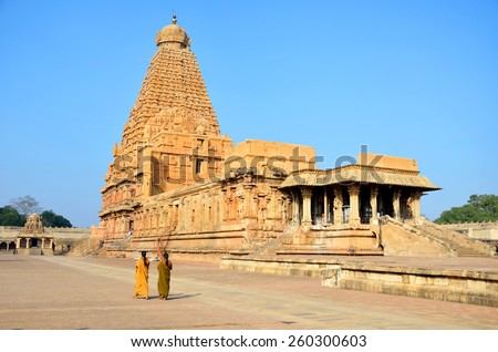 THANJAVUR, INDIA â?? FEBRUARY 6 2015: Brihadeeswara Temple was constructed between 1002 and 1010.Temple tower is 66 meters high and is believed that 130000 tons of granite was used to construct it. - stock photo