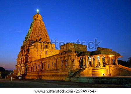 THANJAVUR, INDIA -FEBRUARY 5 2015:   Brihadeeswara Temple was constructed between 1002 and 1010 and temple tower is 66 meters high. - stock photo