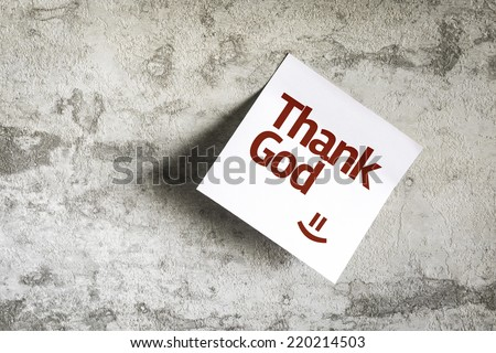 Thank God on Paper Note on texture background - stock photo