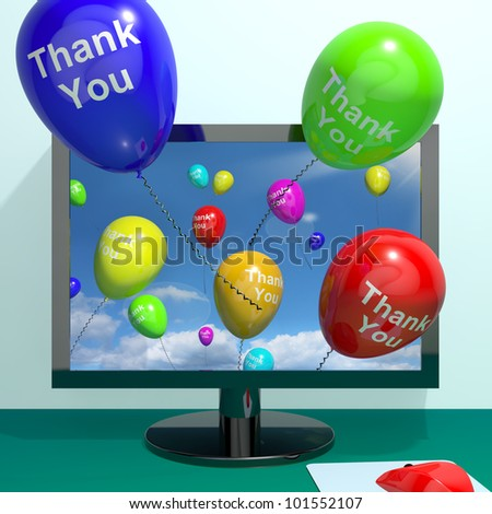 Thank You Balloons Coming From Computer As Online Thanks Messages - stock photo