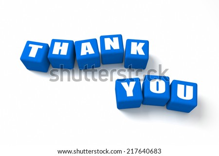 Thank You Blue cubes. Part of a series. - stock photo