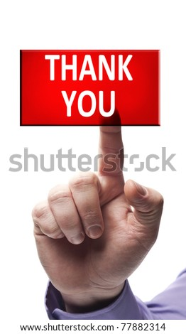 Thank you button pressed by male hand - stock photo