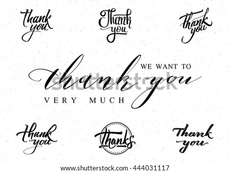 Thank you - card, background, lettering, calligraphy, a sticker can be used for your design - stock photo