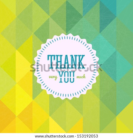 Thank you card on colorful grunge background. Gratitude card for different occasions.  - stock photo