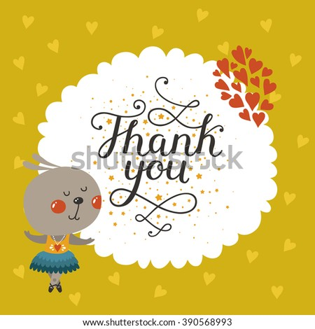 Thank you card with cute rabbit and lettering. Greeting card with baby animal in love. Greeting animal card - stock photo