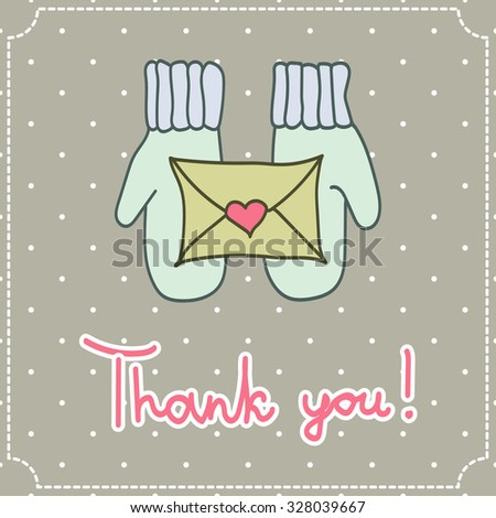thank you card with mittens and a letter on a light background - stock photo