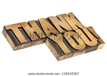 thank you  exclamation - isolated text in vintage letterpress wood type, diagonal layout - stock photo