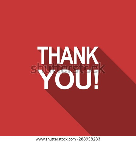 thank you flat design modern icon with long shadow for web and mobile app  - stock photo