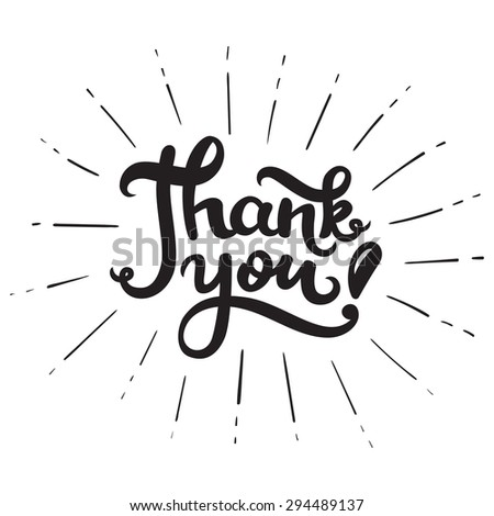 Thank you. Hand drawn lettering poster. Calligraphy card. Raster version. - stock photo
