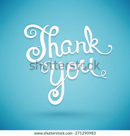 Thank you hand lettering, handmade calligraphy,  illustration - stock photo