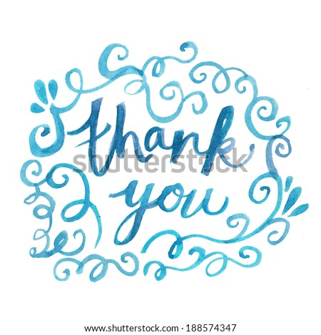 Thank You Hand Painted Text. Thank You Note With Swirls. Hand Painted Flourishes and Swirls. Thank You.  - stock photo
