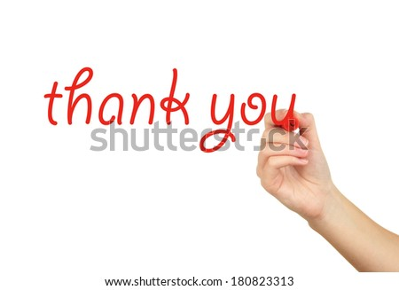 Thank you hand writing on transparent board - stock photo