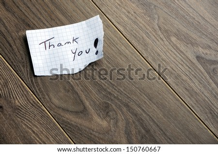 Thank you - Hand writing text on wood background with space for text - stock photo