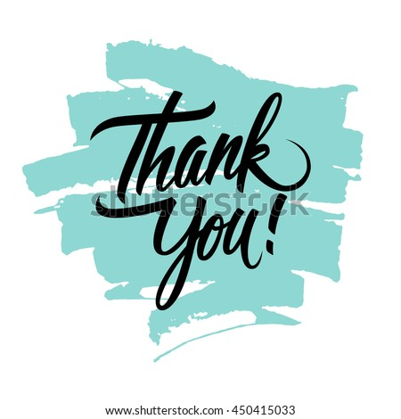 Thank You handwritten inscription with brush stroke. Hand drawn lettering.  - stock photo