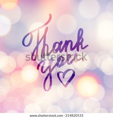 thank you, handwritten text with heart - stock photo
