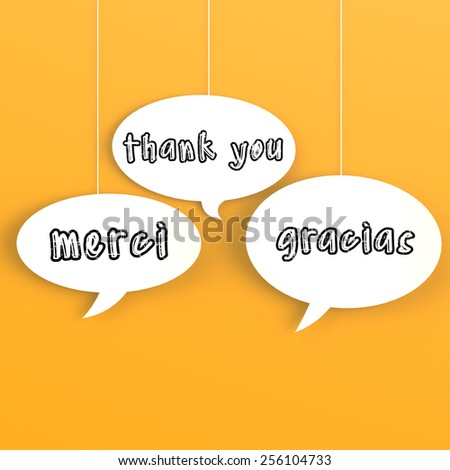 Thank you in foreign languages composed in the bubble speech  - stock photo