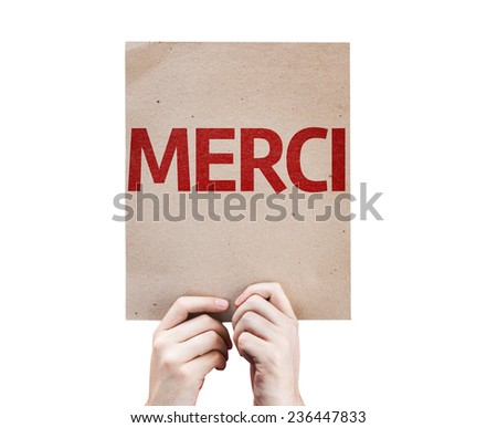 Thank You (In French) card isolated on white background - stock photo