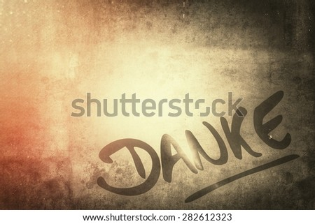 thank you in german language, vintage style - stock photo