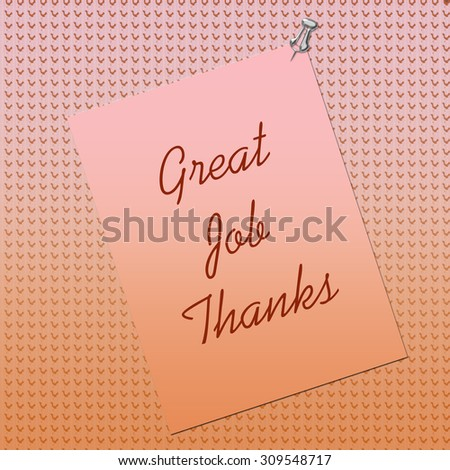 thank you note posted on textured background by thumbtack - stock photo