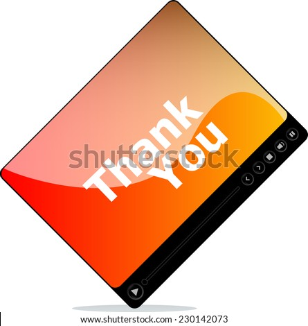 thank you on media player interface - stock photo