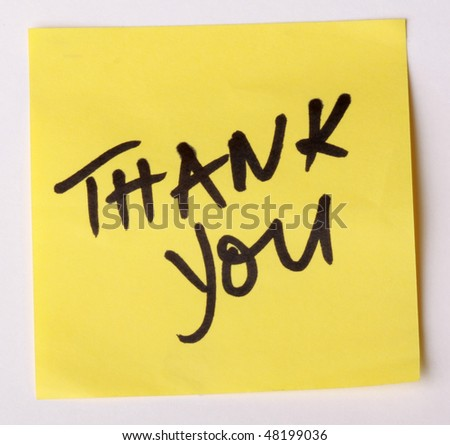 Thank You on Post Note - stock photo
