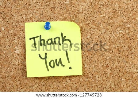 Thank you on yellow paper note - stock photo