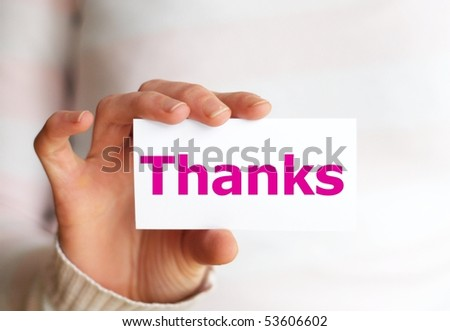 thank you or thanks concept with hand word and paper - stock photo