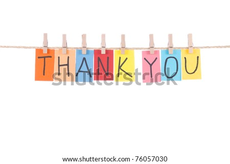 Thank you, paper words card hang by wooden peg - stock photo