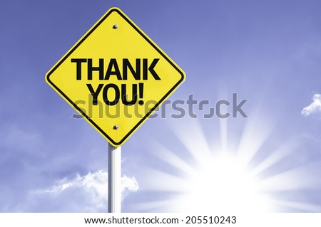 Thank you road sign with sun background - stock photo
