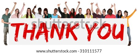 Thank You sign group of young multi ethnic people holding banner isolated - stock photo