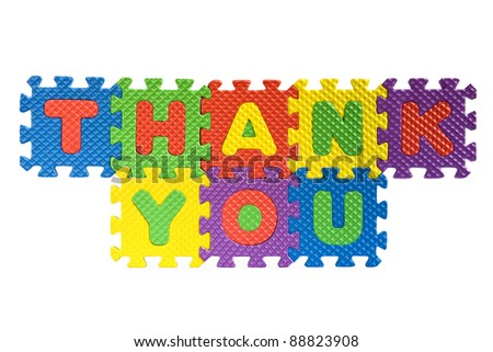 Thank you sign written with alphabet puzzle letters isolated on white background - stock photo