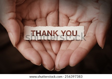 Thank you text on hand design concept - stock photo