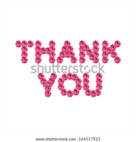 Thank you uppercase letters from pink gerbera flowers alphabet isolated on white background - stock photo
