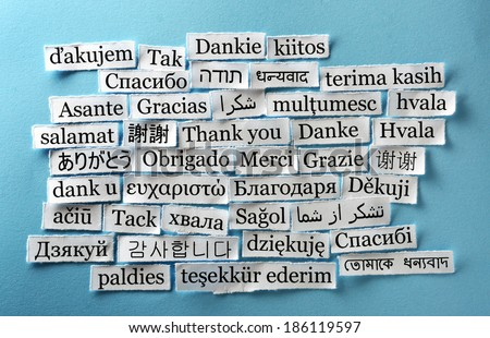 Thank You Word Cloud  printed on  paper on blue font - stock photo